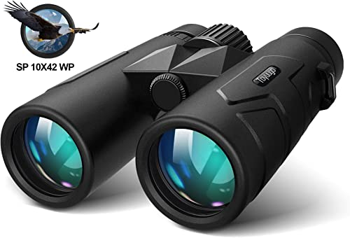 toyuugo 10x42 Compact Binoculars for Adults Durable Full-Size Clear Binoculars, BaK-4 Roof Prism Lightweight Binoculars for Bird Watching, Hunting, Travel, Hiking, Sports Events, Concerts