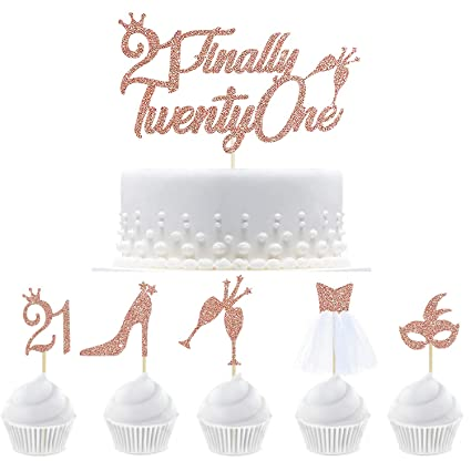 3 Pieces 21st Birthday Cake Toppers Happy 21st Birthday Cake Cupcake Topper Picks Glitter Cake Decoration for Birthday Party Cake Supplies Rose Gold