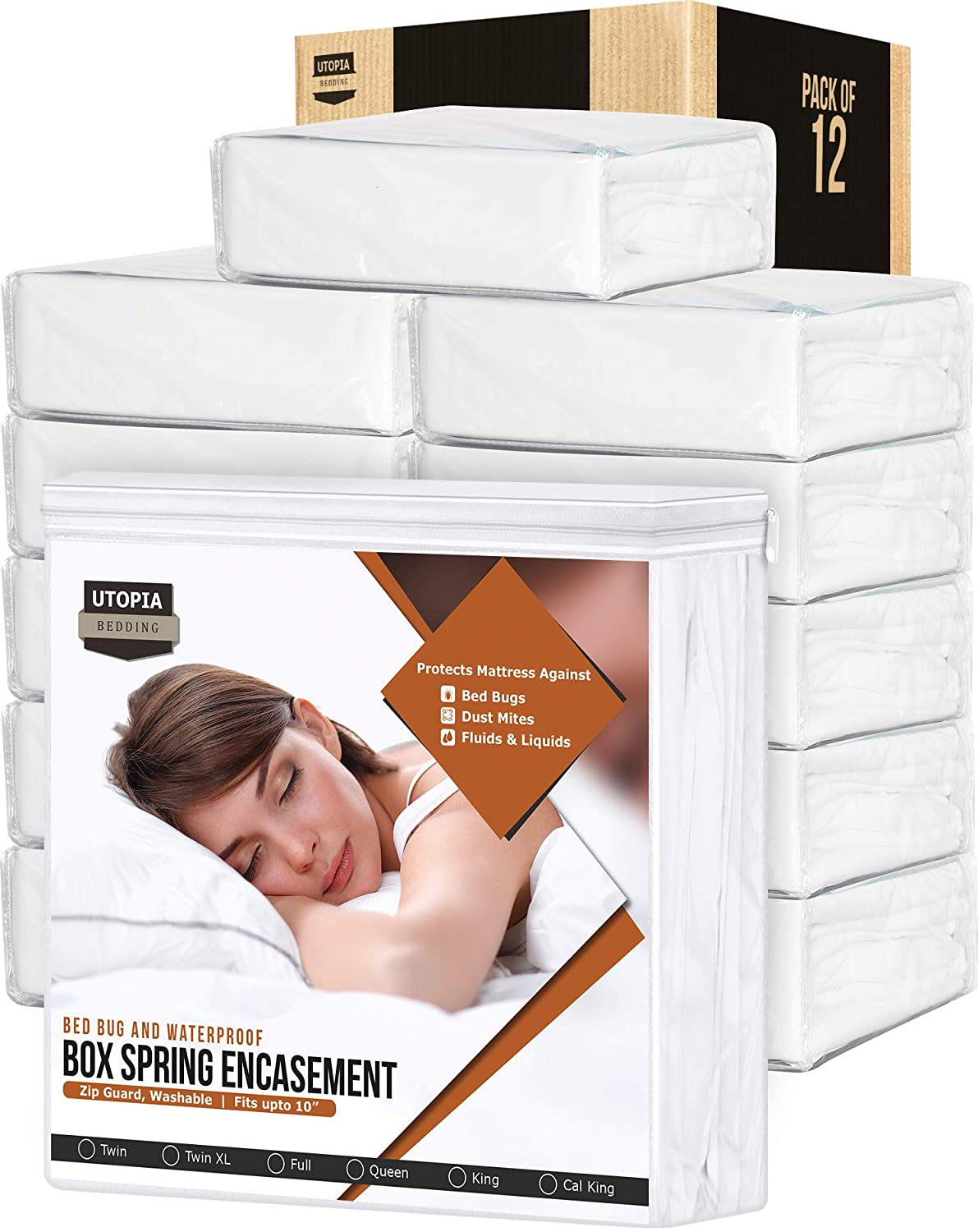 Utopia Bedding Box Spring Encasement – Bed Bug Proof Protector – Knitted Mattress Cover (Bulk Pack of 12, Twin).