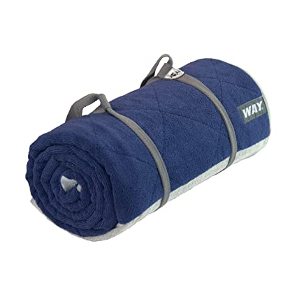WAYmat Core Exercise Mat - Thick All-Purpose Non-Slip Yoga Towel Mat, Perfect for Hot Yoga, Bikram and Pilates (Navy Blue)