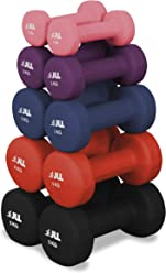 JLL Neoprene Coated Steel Dumbbells Aerobic Weight Fitness Training - Sold as a pair