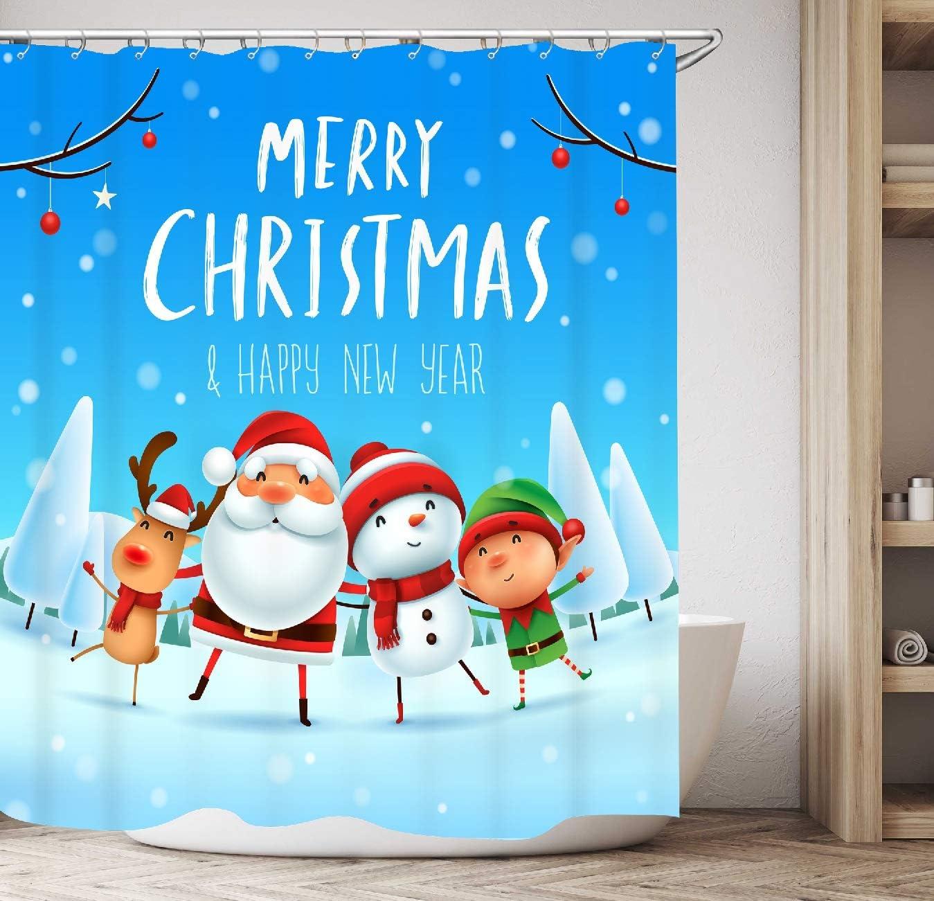 Merry Christmas Santa Claus Shower Curtain Bathroom Polyester Waterproof Fabric