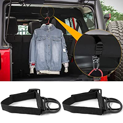 2PCS Roll Bar Coat Hanger Clothes Hook for Jeep Wrangler CJ YJ TJ LJ JK JKU JL JLU JT Sports Sahara Freedom Rubicon & Unlimited X 2/4 door (Black): Automotive