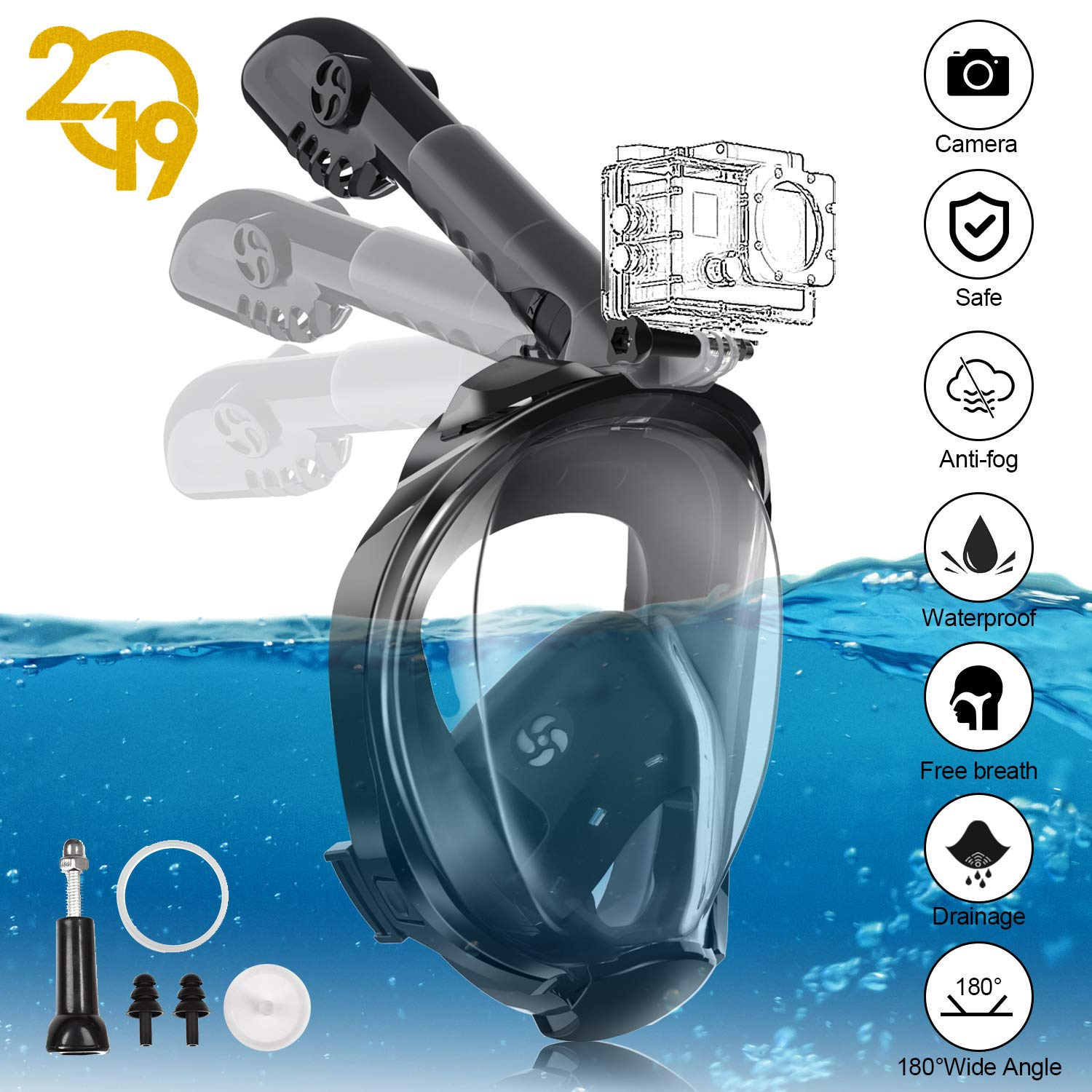 YUNDOO Full Face Snorkel Mask, 180°Panoramic View Free Breathing Foldable Tube Design, Anti-Leak Anti-Fog Snorkeling Diving Mask with Detachable Camera Mount & Adjustable Head Straps for Adult Black by YUNDOO