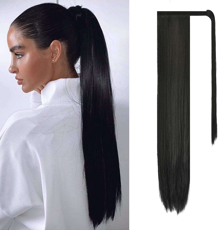 FESHFEN Cola de Caballo Extensiones Postizos de pelo fibras sintéticas de cabello pelo liso largo 71cm, 150g