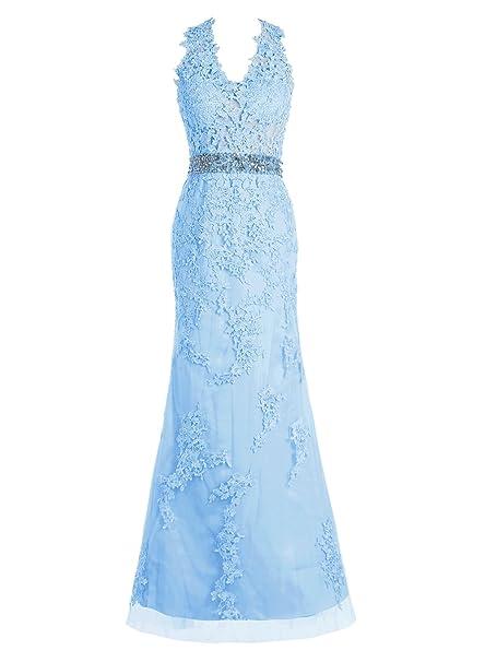 Bbonlinedress Vestidos De fiesta Largos De Noche Con Aplicaciones Tul Elegantes Azul 54W
