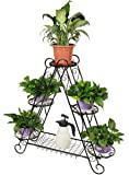 "HLC 5 Pots Classic Plant/Flower Stand with Moder ""Triangle"" Style Suitable for Indoor and Outdoor"