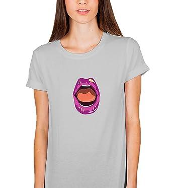 Lips Red Rock and Roll Sexy Woman Kiss Damen Shirt Tshirt T-Shirt ...