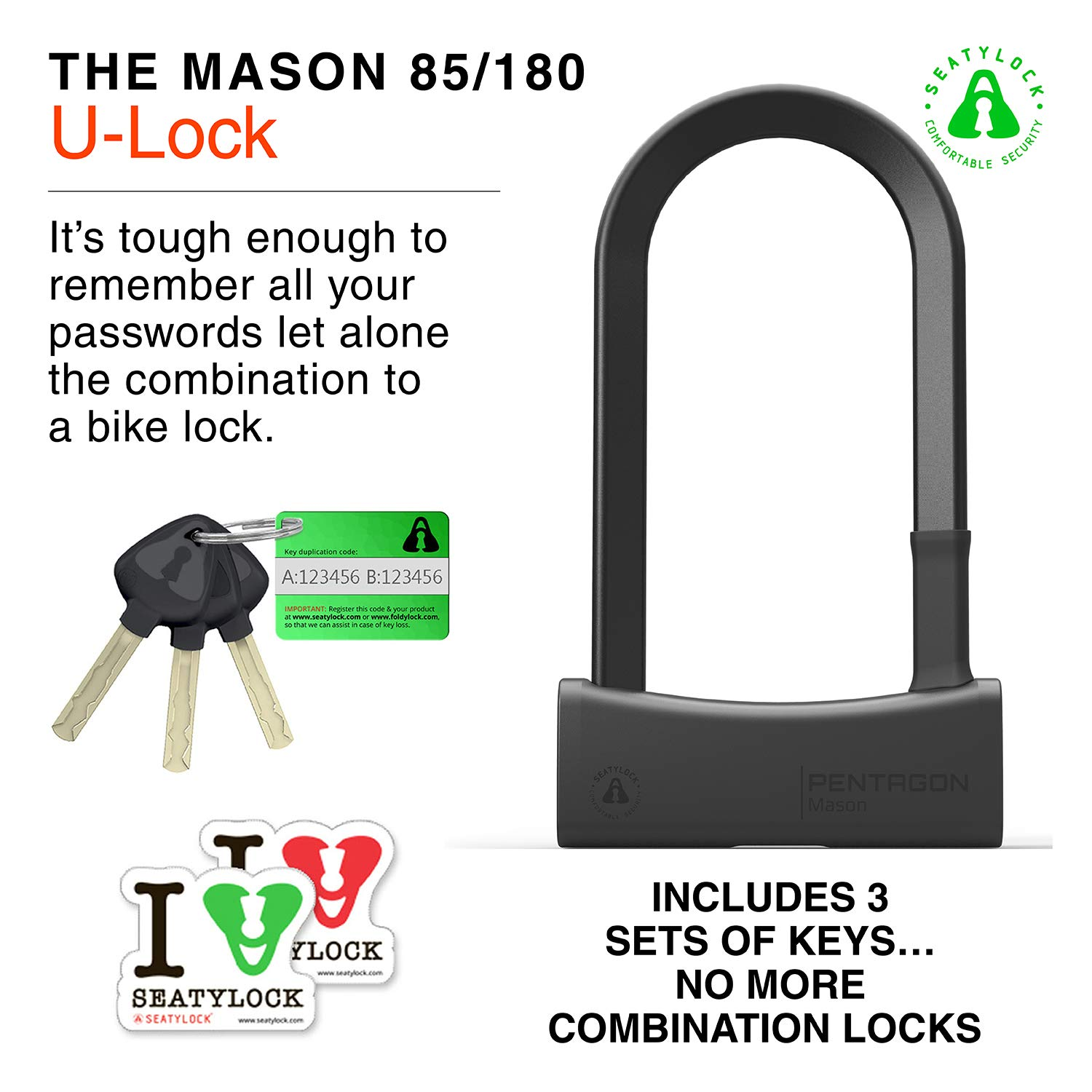 Double Deadbolt and Drill Resistant Features Seatylock Mason Sold Secure Gold Bicycle U-Lock with 17mm Thick Patented Triangular Crossbars Heavy Duty Bike Lock with Keys