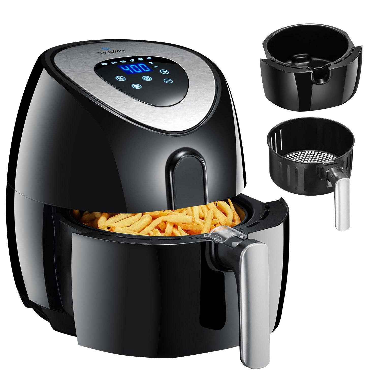 Tidylife Friteuse électrique sans huile(AF-11A), Friteuse automatique à air chaud, écran tactile LED, multifonction 8-en-1,bac 3.2L 1500W, avec livre de recettes, noir (3.2L) product image
