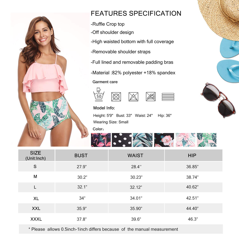 MarinaVida Women Off Shoulder Ruffle Swimsuit Crop Top Two Piece Bathing Suit by MarinaVida (Image #7)