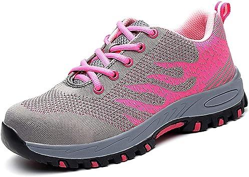 SROMEZ Zapatillas de Seguridad para Mujer con Puntera de Acero Transpirables Antideslizante Ligeras Comodas Calzado de Trabajo Gris Rosa 35-46: Amazon.es: Zapatos y complementos