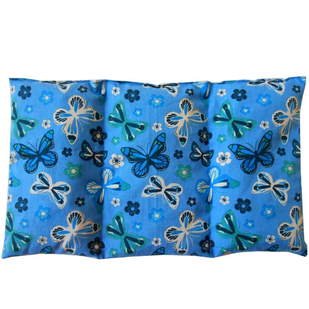 Coussin chauffant Papillons Bleus - rempli de noyaux de cerise - coussin thérapeutique - 26x16cm - 330gr