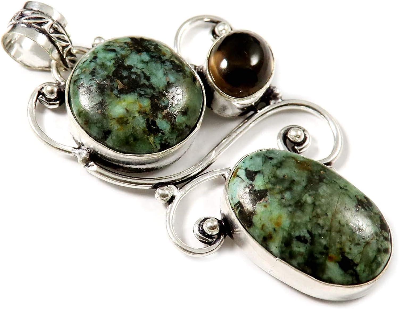 Goyal Crafts GPAL54 - Colgante chapado en plata de cuarzo ahumado turquesa