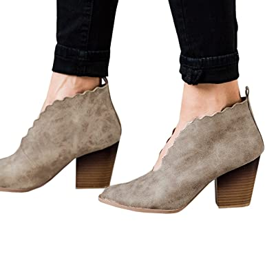 d124da05117 Booties for Women Cutout Tongue Scalloped Heels Ankle Boots