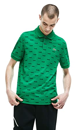 5365e2ee9 Lacoste Men s Live Slim Fit All Over Print Cotton Mini Pique Polo at ...