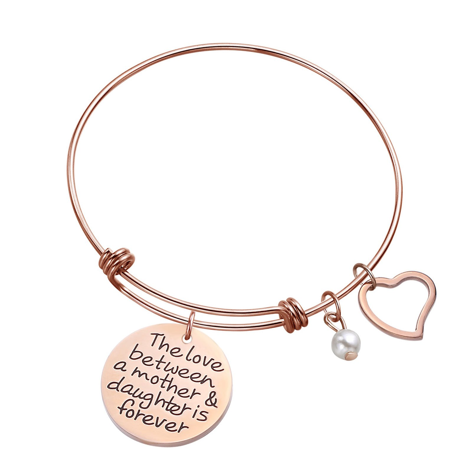 Sunflower Jewellery Charm Bracelet Adjustable Bangle Gift For Women Girl Sister Mother Friends (Rose Gold The Love Between Mother and Daughter Is Forever)