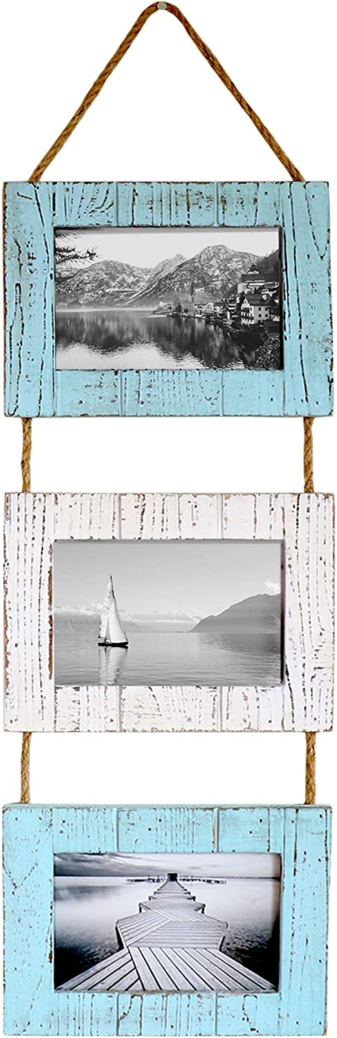 "Barnyard Designs Rustic Farmhouse Distressed Picture Frames - Vertical Wood Photo Frame Display - 3 5"" x 7"" Frame Set on Hanging Rope in Nautical White and Turquoise 27"" x 9.5"""