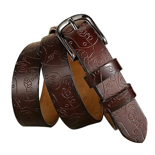 e823aba068ea9 Women Waist Belt Pin Buckle Leather For Jeans Dress Retro Fashion Embossing  (Coffee