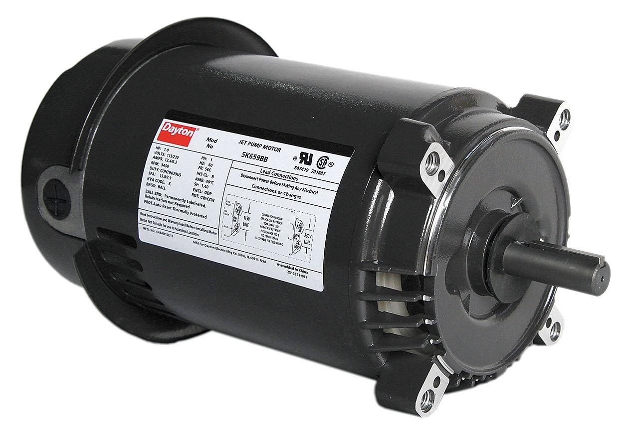 Dayton 5K659 Motor, 1 hp, Jet Pump, Degrees_Fahrenheit, to Volts, Amps, (