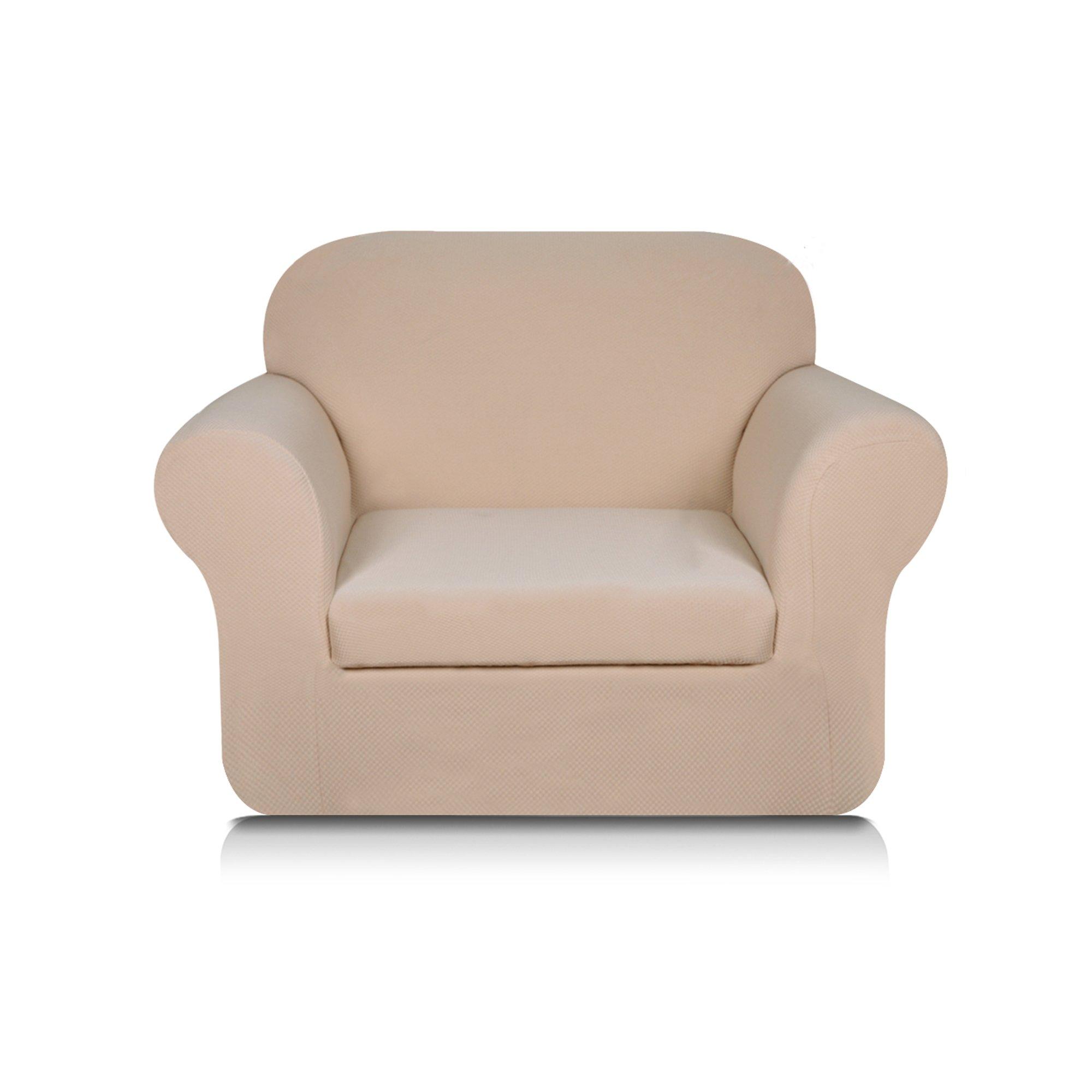 Subrtex 2-Piece Knit Jacquard Spandex Stretch Sofa Slipcover (Chair, Milky)
