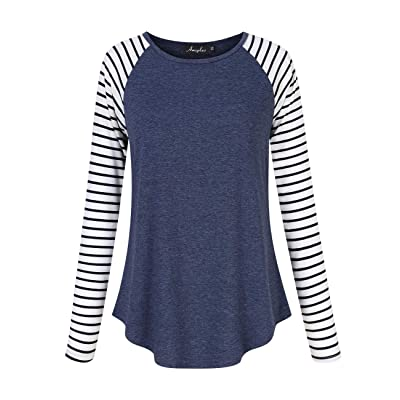 AMZ PLUS Women's Plus Size Striped Raglan Tee Shirts Jersey Baseball Casual Tunic Blouse at Women's Clothing store