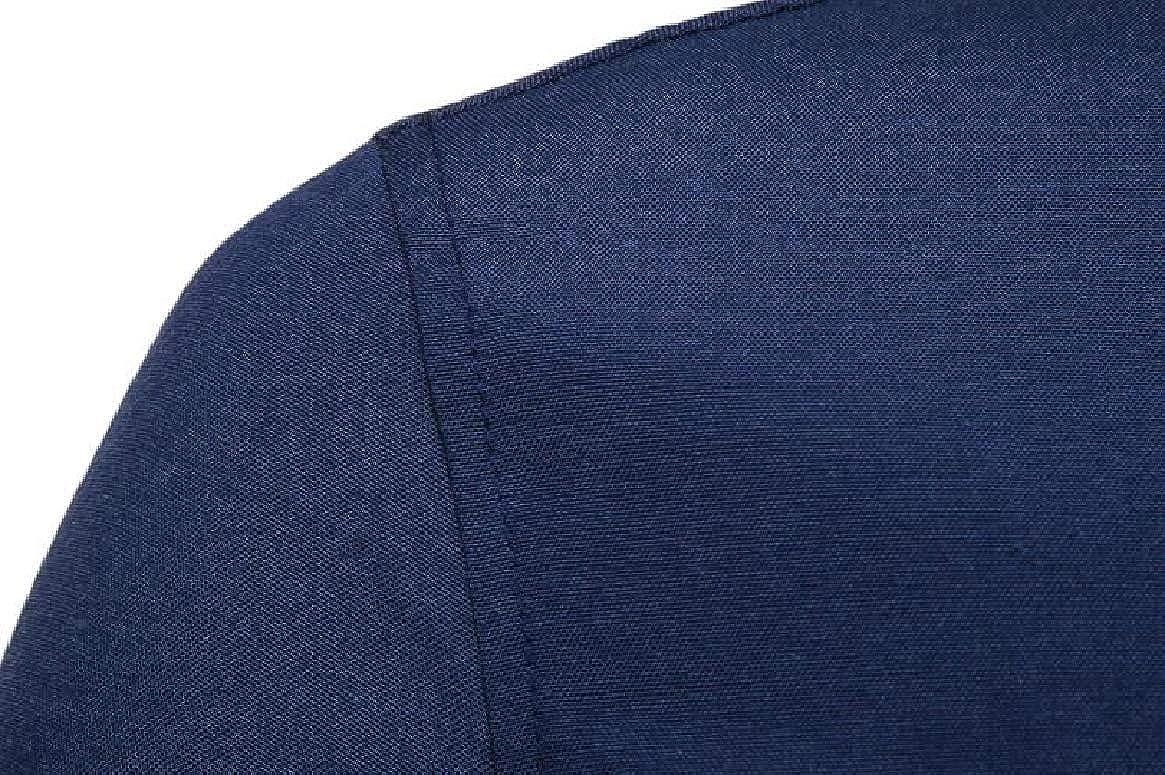 HTOOHTOOH Men Button Down Dress Shirts Patchwork Color Block Short Sleeve Shirt