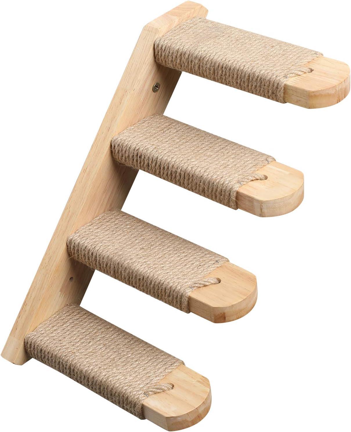FUKUMARU Cat Climbing Shelf Wall Mounted, Four Step Cat Stairway with Jute Scratching for Cats Perch Platform Supplies