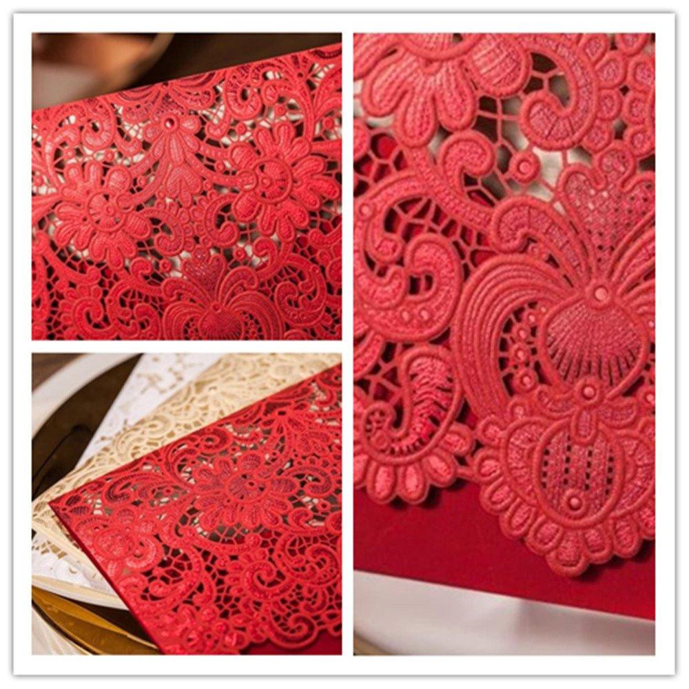 Amazon.com: Graces Dawn Wedding invitations 50pcs horizontal Laser ...