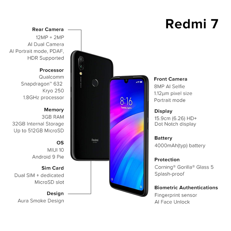 Redmi 7 (Eclipse Black, 3GB RAM, 32GB Storage)
