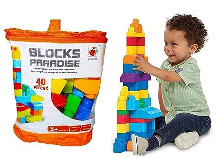 Metro Toy's & Gift Plastic Mega Blocks Big Building Bag - 40 Pieces