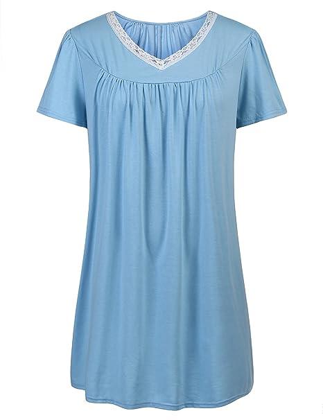 1c63bd3b08 Women s Nightgown Plus Size Sleepwear Short Sleeves Sleep Shirt Sexy ...