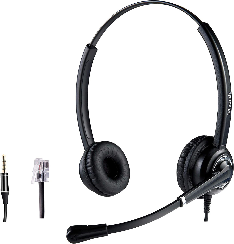 Call Center Telephone RJ9 Headset Headphone with Mic for Office Landline
