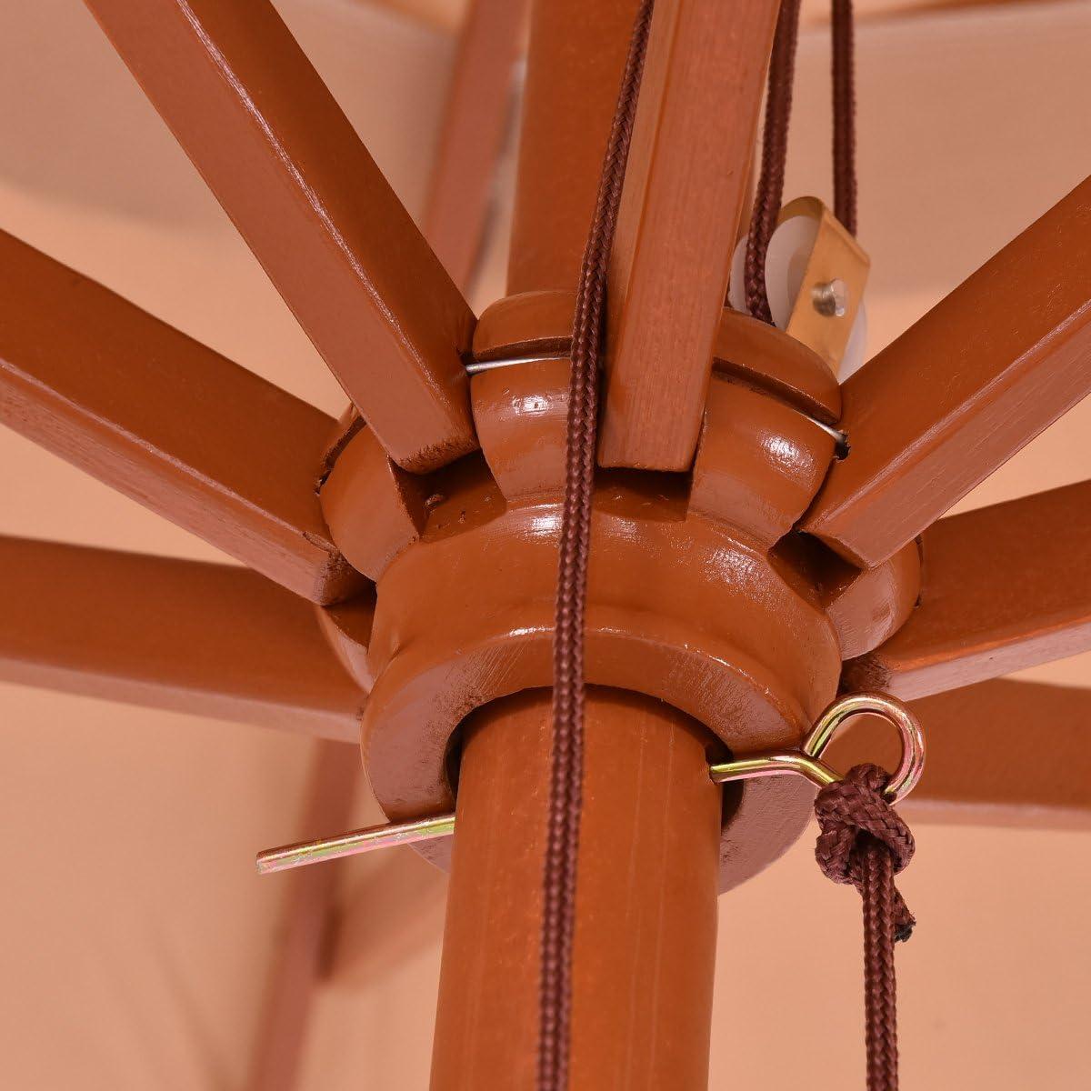 DREAMADE Ombrellone da Esterno Parasole per Giardino Piscina Spiaggia Terrazzo /Ø 270 cm Marrone