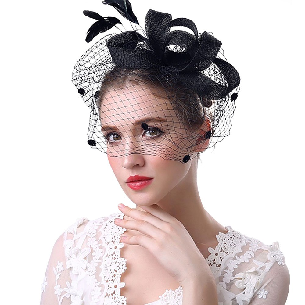 Beelittle Fascinators Hat Cocktail Tea Party Wedding Headwear Flower Mesh Feathers Headband Clip for Girls and Women (A-Black)