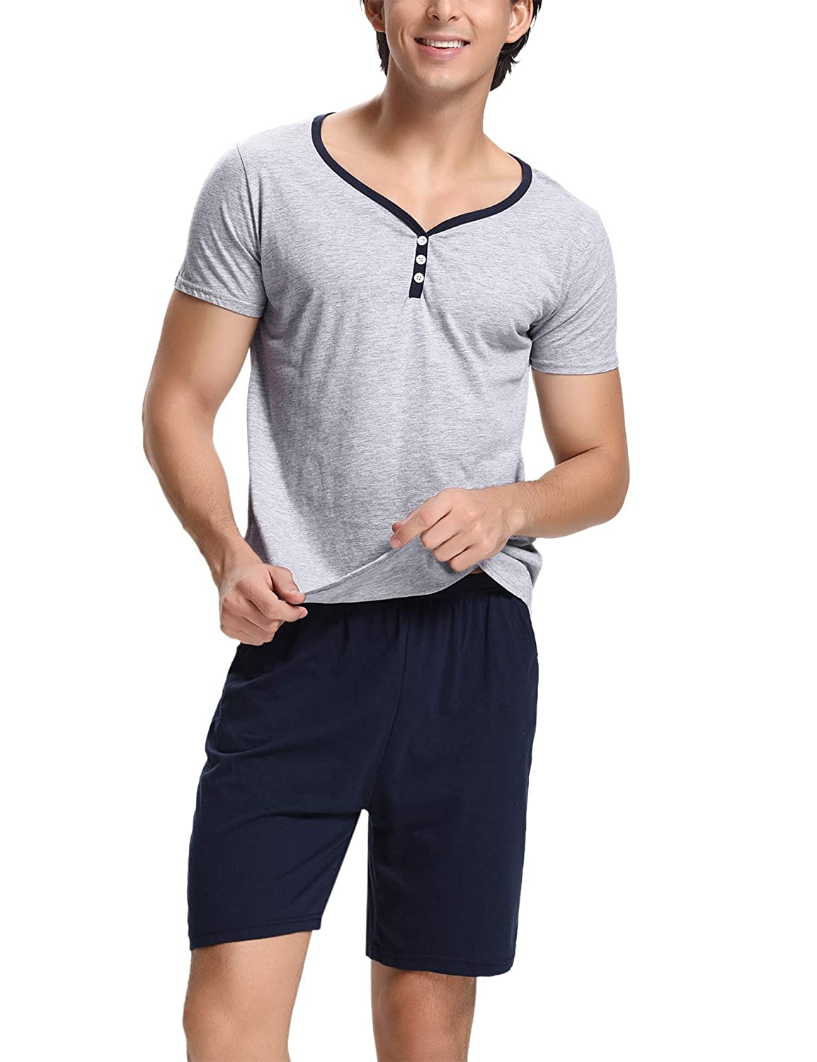 Hawiton Mens 100/% Cotton Pajamas Set Short Sleeve Crew Neck Lounge Sleepwear