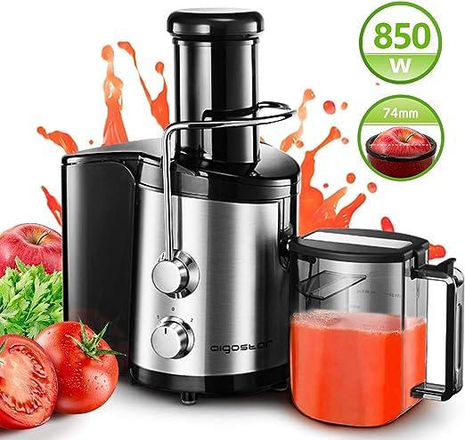 Aigostar 30IMX - Licuadora y extractor de frutas y verduras Potencia de 850 W con bajo nivel de ruido. Semiprofesional 1,25 l. Acero inoxidable Sin bisfenol A.: Amazon.es: Hogar
