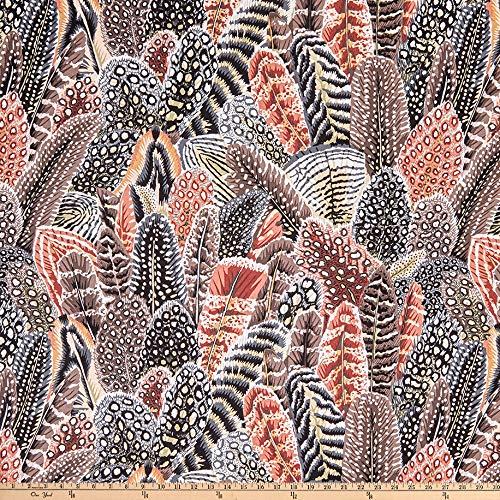 FreeSpirit Fabrics Arcadia Farmyard Feathers Fabric, Neutral, Fabric By The Yard