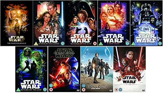 Star Wars 1 9 Complete Collection The Phantom Menace Attack Of The Clones Revenge Of The Sith A New Hope The Empire Strikes Back Return Of The Jedi The Force Awakens Rogue One The Last Jedi Amazon Co Uk Natalie Portman Billy Dee