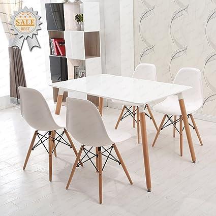 Ensemble Table Et Chaise Cuisine.Ensemble Table Et Chaises En Bois Charles Ray Eames Schindora Inspire De La Tour Eiffel Design Retro Bureau Salle A Manger Salon Cuisine