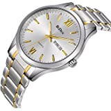 Watches, Mens Watches Gold stainless Steel Watch Luxury Fashion Waterproof Wrist Analog Quartz Watch