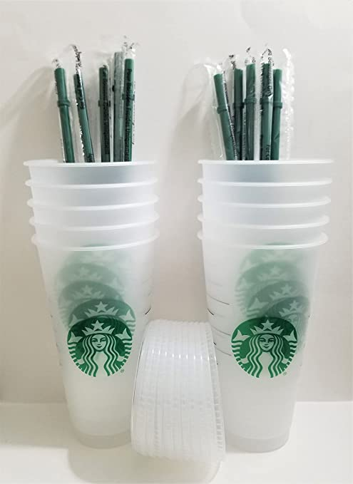 Starbuck 10 Pack Bundle - Reusable Frosted 24 oz Cold Cup with Lid and Green Straw w/Stopper