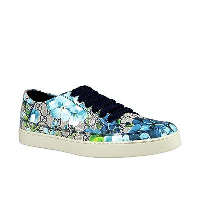 aed0c9de343 Gucci Bloom Flower Print Blue Supreme GG Canvas Sneaker Shoes 407343 8470  (6 G