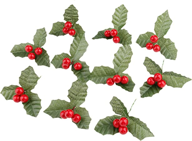 Christmas Red Berry Holly Leaves Branch Artificial Flower Pick Home Decor JJ