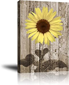 Giclee Canvas Wall Art for Home Decoration, Abstract Canvas Wall Decor, Modern Paintings Picture Decorative Artwork for Livingroom Bedroom Bathroom 16x20 (Rustic Sunflower on Wooden)