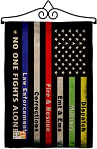No One Fights Alone Burlap Garden Flag - Set Wall Hanger Armed Forces Service All Branches Support Honor United State American Military Veteran Official - House Yard Gift 13 X 18.5