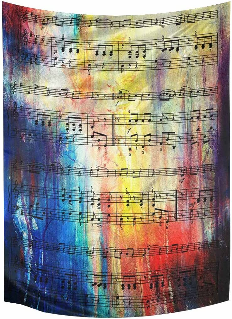 InterestPrint Old Music Notes Vintage Musical Background Tapestry Wall Hanging Tapestries Wall Art Home Decor for Bedroom Living Room Dorm, 60W X 80L Inch