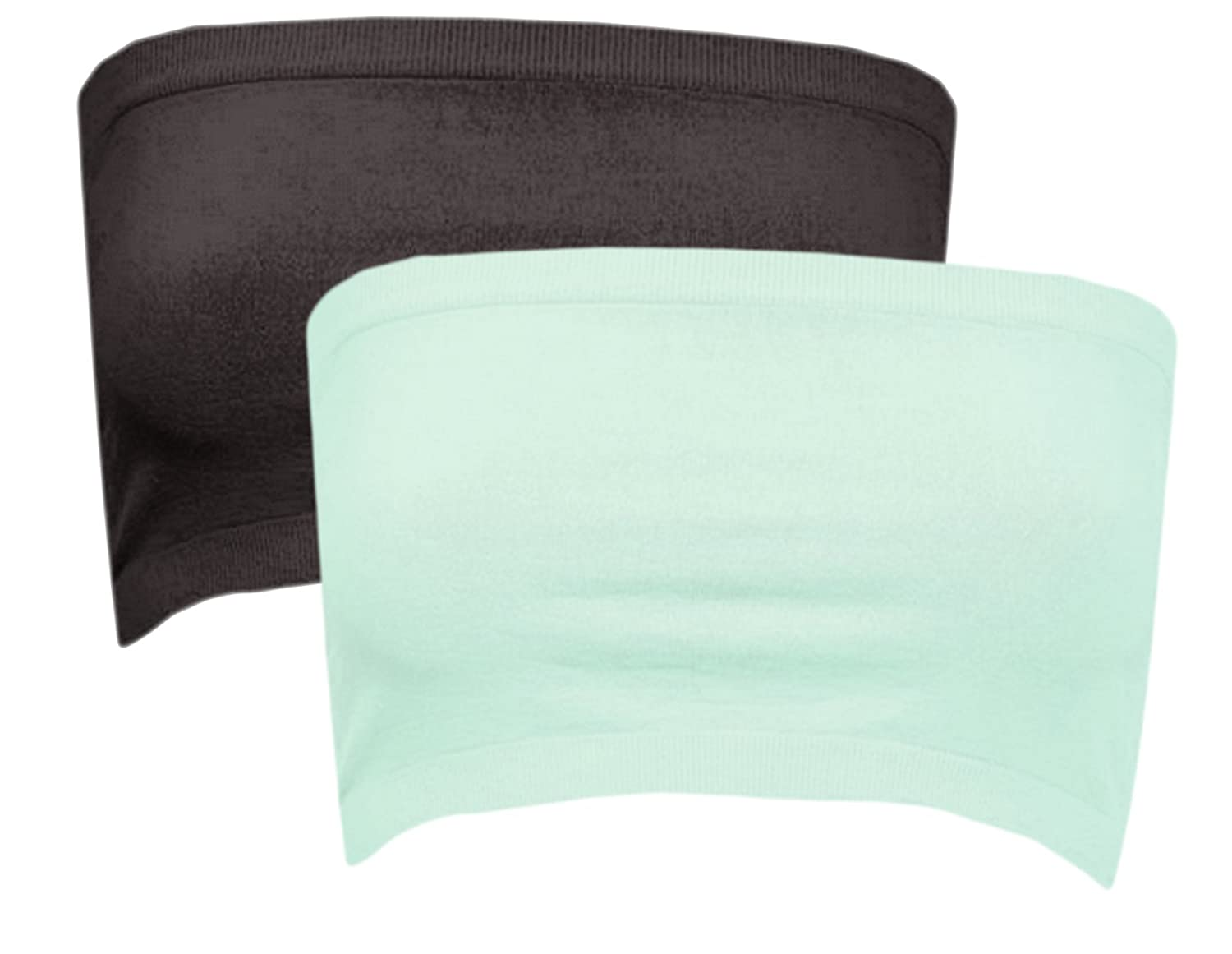 Niki Biki Nylon/Spandex Seamless Strapless Tube Top Bandeau Bra Cover (One Size, 2 Pack: Black/Lucite Green)