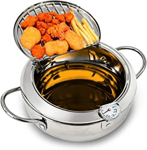 Bavnnro Deep Fryer Pot,304 Stainless Steel Tempura Deep Frying Pan With Thermometer Oil Drip Rack for Kitchen Cookingil Turkey Legs, Chicken Wings, French Fries (24cm/304)