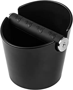 Knock Box for Espresso Coffee Grounds-Shock Absorbant Espresso Knock Box Black with Non-Slip Rubber Gasket- Barista Coffee and Espresso Accessories